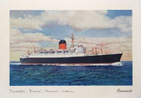 Carinthia, Ivernia, Saxonia: R.M.S. Carinthia, The sister Ships by Cunard Line. Shipping travel Poster